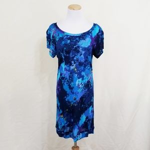 Trina Turk watercolor graffiti dress blue short M